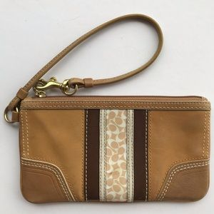 Coach Tan and Brown Wristlet